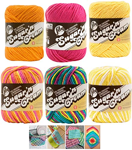 Spinrite Variety Assortment Lily Sugar'n Cream Yarn 100 Percent Cotton Solids and Ombres (6-Pack) Medium Number 4 Worsted Bundle with 4 Patterns (Asst 35)
