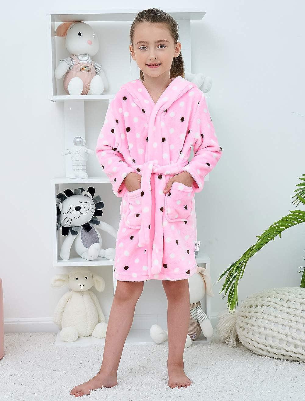 Tunoluker Boys Bathrobes, Toddler Kids Hooded Robes Soft Plush Fleece Pajamas Sleepwear for Boys & Girls: Clothing, Shoes & Jewelry