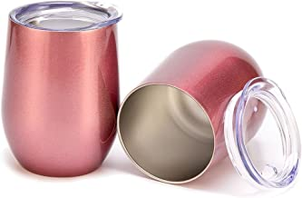 2 Pack Stainless Steel Wine Glasses, 12 OZ Vacuum Break Resistant Outdoor Drinkware - Type Heat Preservation Cup Great Tumbler for Red Wine, Cocktail and Nonalcoholic Beverages (Rose Gold)