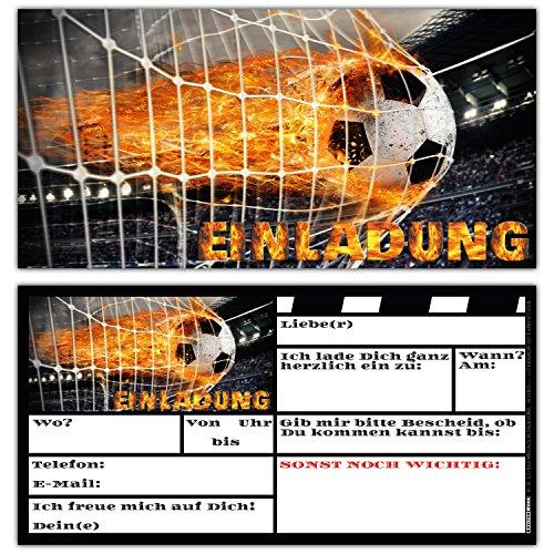 BREITENWERK 12 Fussball Einladungskarten im Karten-Set zum Kinder-Geburtstag oder Fußball-Party - Einladungen für Jungen Mädchen und Erwachsene