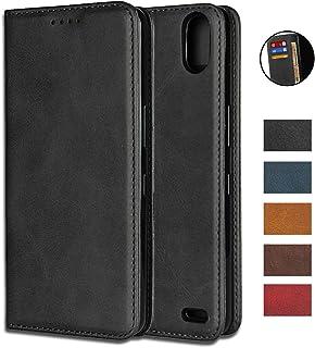 """Apple iPhone X 財布ケース iPhone XS カバー 手帳型、(5.8"""") 耐久性のある PUレザーフォリオブックスタイルのフリップケースカバースタンド機能 内蔵マグネット落ち着いた色 軽量 便利 強磁性 [選択可能な5色] - ブラック"""
