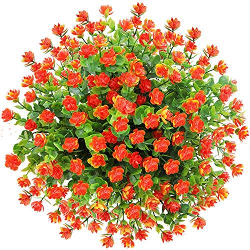 CQURE künstliche Blumen,Unechte Deko Blumen Künstliche Pflanze Grün UV-beständige Eukalyptus kunstblumen Outdoor Braut Hochzeitsblumenstrauß für Haus Garten Blumenschmuck 5 Stück (Orange Rot)
