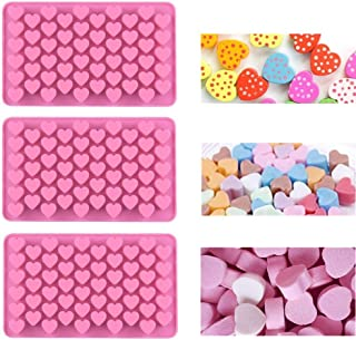 3 Pack Silicone Candy Mold, 55 Mini Heart Shape Cavity, Nonstick Gummy Mold Ice Cube Tray Jell-o Chocolate Mold