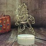 Dragon Ball Z Super Saiyajin Dios Goku Vegeta - Lámpara LED de 7 colores con mando a...