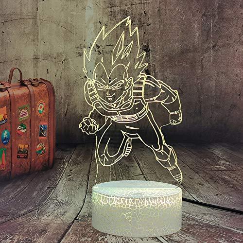 Dragon Ball Z Super Saiyajin Dios Goku Vegeta - Lámpara LED de 7 colores con mando a distancia, lámpara de mesa para niños, lámpara de mesa para niños, luz nocturna, regalo para adolescentes