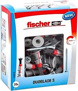 Fischer 545678 S 545678-Tacos para cartón yeso autorroscantes x Duoblade, 20 tornillos para aglomerado 4, 5 x 40, Gris, rojo