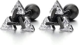 Black Stainless Steel Triangle Cubic Zirconia Stud Earrings for Men Women, Screw Back Post, 2pcs