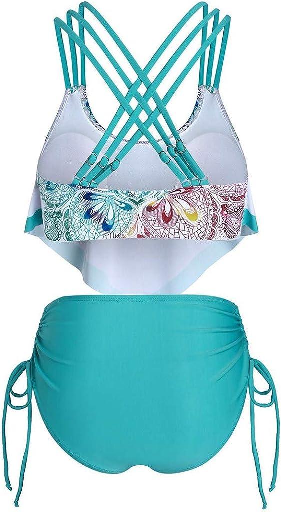 Women's Bikini Set,Boho Floral Halter Summer Beach Party Swimsuit, High Waist Tummy Control Swimwear Plus Size