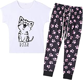 YIJIU Women's Cute Cartoon Cat Sleepwear Short Sleeve Top and Pants Pajama Set