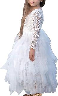 6fa5cafcca72a NNJXD Robe de Fête Tutu Tulle Manches Longues Fleur Dos Nu A-Ligne en  Dentelle