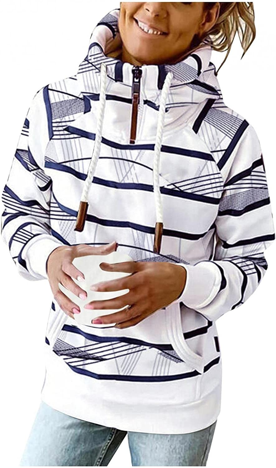 Gibobby Hooded Sweatshirts for Women 1/4 Zipper Drawstring Pullover Casual Button Pocket Hoodies Long Sleeve Stripe Tops