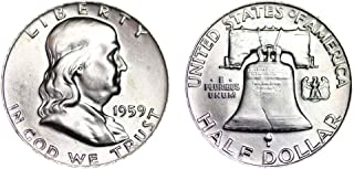 1959 P Franklin Half Brilliant Uncirculated 90% Silver US Coin MS/BU Fifty Cents .50 Half Choice Brilliant Uncirculated