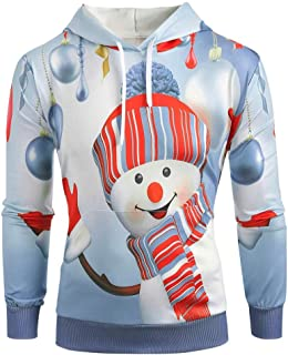 Mens Snowman Print Christmas Hoodie Cartoon Print Fashion Pullover Casual Plus Size Long Sleeve Sweatshirt