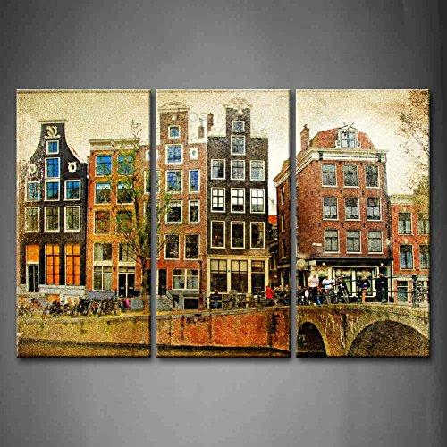 First Wall Art - Retro Cuadros en Lienzo Río y Casas y Puente en Amsterdam Decoracion de Pared 3 Piezas Modernos Arquitectura Mural Fotos para Salon,Dormitorio,Baño,Comedor