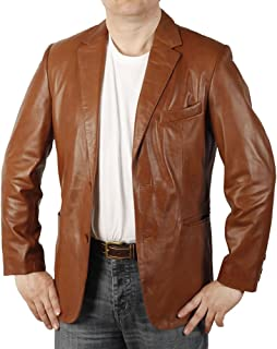 Semi-Fitted Mens Antique Tan Leather Blazer