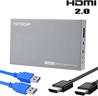 YOTOCAP 4K 60fps HDMI 2.0 Bypass USB3.0 UVC3.0 Game Video Capture Card with Microphone Input, Record up to 1080p 60fps, Broadcast Live Stream and Record Grabber Converter YT-269