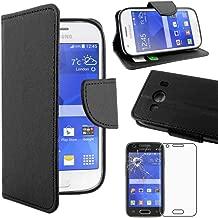ebestStar - Compatibile Cover Samsung Ace 4 Galaxy SM-G357FZ Custodia Portafoglio Pelle PU Protezione Libro Flip, Nero + Pellicola Vetro Temperato [Apparecchio: 121.4 x 62.9 x 10.8mm, 4.0'']