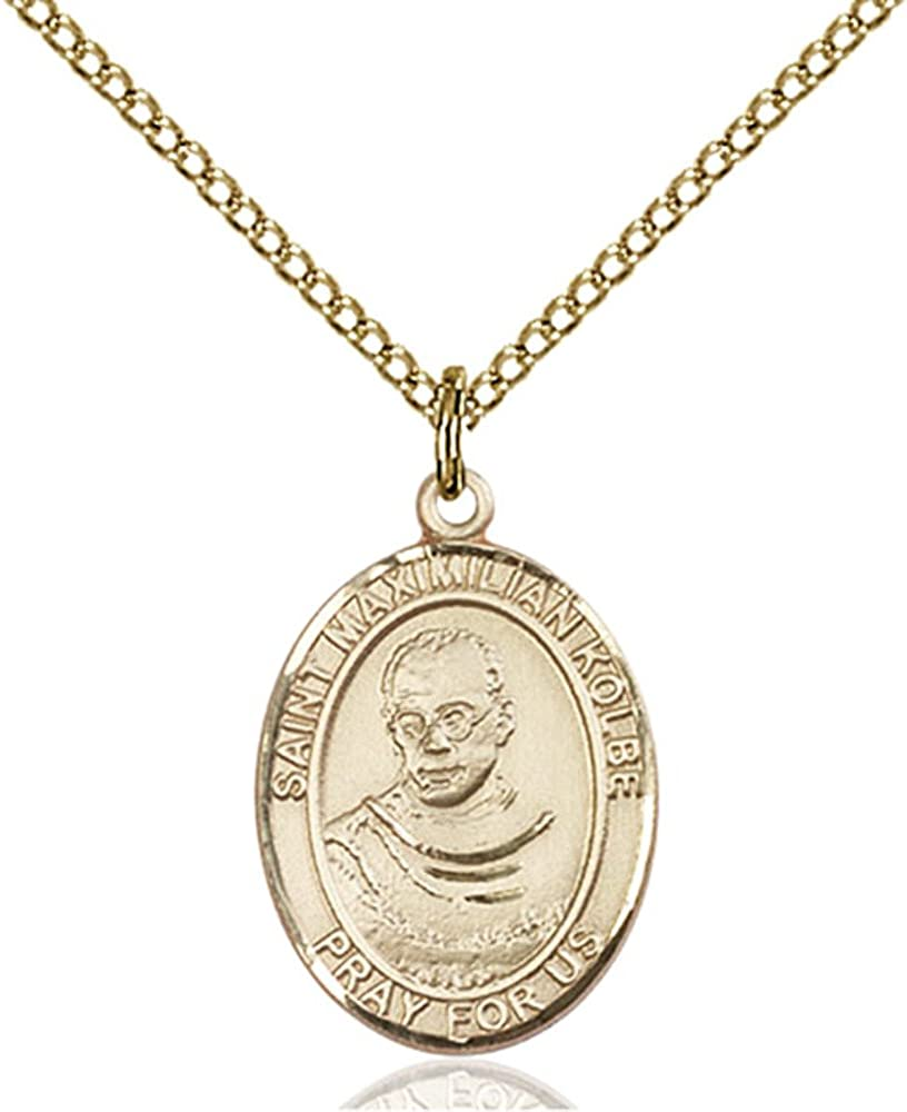 Custom Engraved Gold Filled St. Maximilian Kolbe Pendant 3/4 x 1/2 inches with Gold Filled Lite Curb Chain