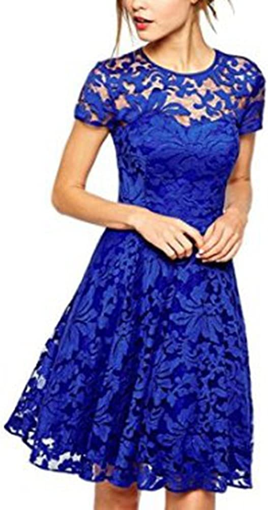 Blansdi Women Eegant Round Neck Short Sleeve Pleated Floral Lace Clubwear Cocktail A Line Skater Dress