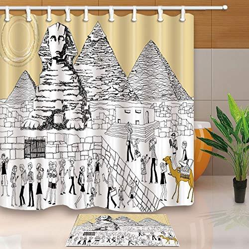 gohebe Wanderlust Decor Cartoon ?gyptische Figuren mit Pyramiden 180x180cm Polyester Stoff Vorhang f¨¹r die Dusche Anzug mit 39,9x59,9cm Flanell rutschfeste Boden Fu?matte Bad Teppiche