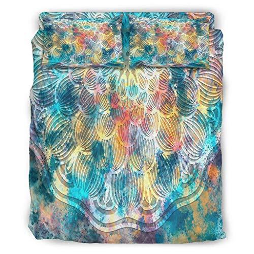 Butterfly Goods Bettdecke Magie Bunte Ultraweiche - 1 Bettbezug und 2 Kissenbezüge und 1 Tagesdecke für die ganze Saison White 175x218cm