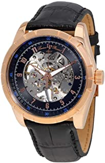Lucien Piccard Men's Hampton Stainless Steel Mechanical-Hand-Wind Watch with Leather Calfskin Strap, Black, 24 (Model: LP-40028M-RG-01)