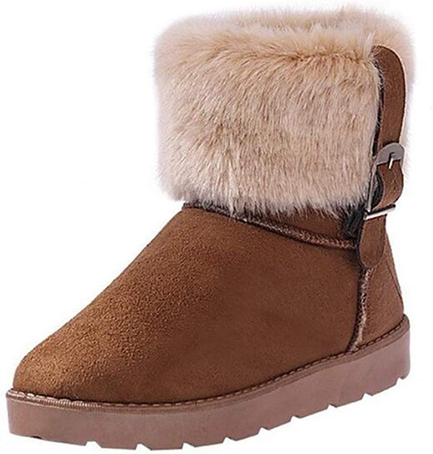 Fay Waters Womens Warm Short Cotton Boots Buckle Furry Flat Heel Slip On Round Toe Snow Ankle Booties
