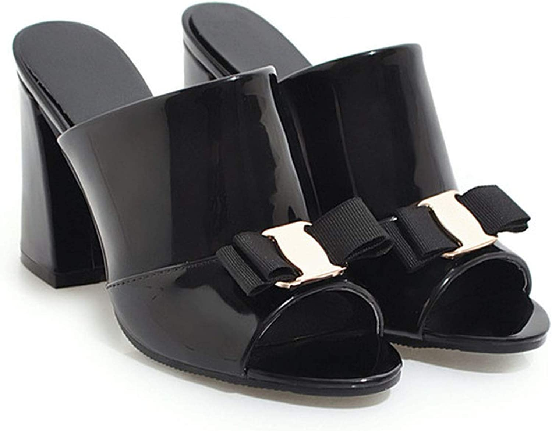 Boom-moon Women shoes High Heels shoes Bow Block Heel Female Slipper