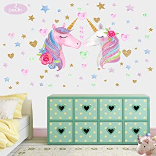 Unicorn Wall Decal 2 Packs Large Size, Unicorn Wall Sticker Decor with Hearts and Stars for Girls Kids Bedroom Nursery Birthday Party Favor by Conveasy