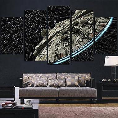 JESC Wall decor Canvas Picture Star Wars Batman Poster 5 Pieces Art Home Framed HD Printed canvas painting (30x40cmx2,30x60cmx2,30x80cmx1) …