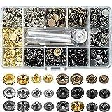 Herramienta de instalación de metal de cuatro botones y 6 colores Botón a presión Botón de cobre puro de metal de alta calidad 120 juegos