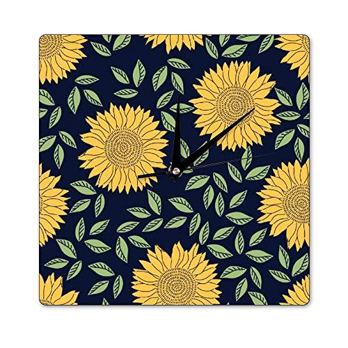 Pealrich Crocus Sunflower Element - Reloj de pared cuadrado de madera, 12...