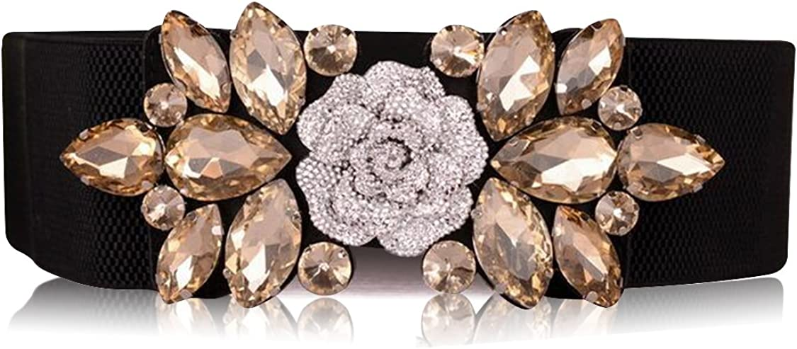 Mesa Mall SanJL Women's Elastic Stretch Waist Belt for Crystal Dress Cheap mail order sales