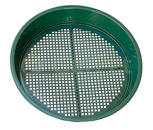 Plastia Erdsieb Rund mit 2 Siebeinsätzen Rüttel Sand Garten Sieb 4 und 6 mm