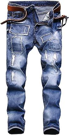 e0b7ecaa20 Shunht Men's Fashion Slim Straight Patch Ripped Jeans Broken Hole Denim  Pants