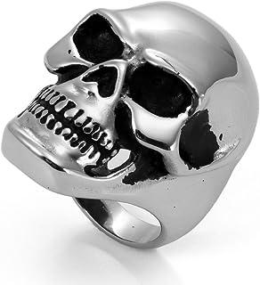 JewelryWe Gioielli Anello da Uomo Donna Acciaio Inossidabile Grande Cranio Anello Band per Fidanzamento e Matrimonio Argento