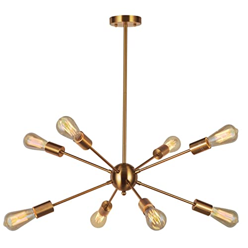 Sputnik Chandelier Light-VINLUZ 8 Lights Brushed Brass Modern Pendant Lighting Gold Mid Century Ceiling