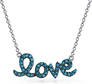 Love Word Blue Beaded Nano Spinel Turquoise Pendant Necklace For Women For Girlfriend 925 Sterling Silver With Chain