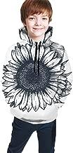GZtaowen Teens Hoodies Sweatshirts 3D Digital Print Sweatshirts with Pockets - Sketch Drawing Sunflower Black