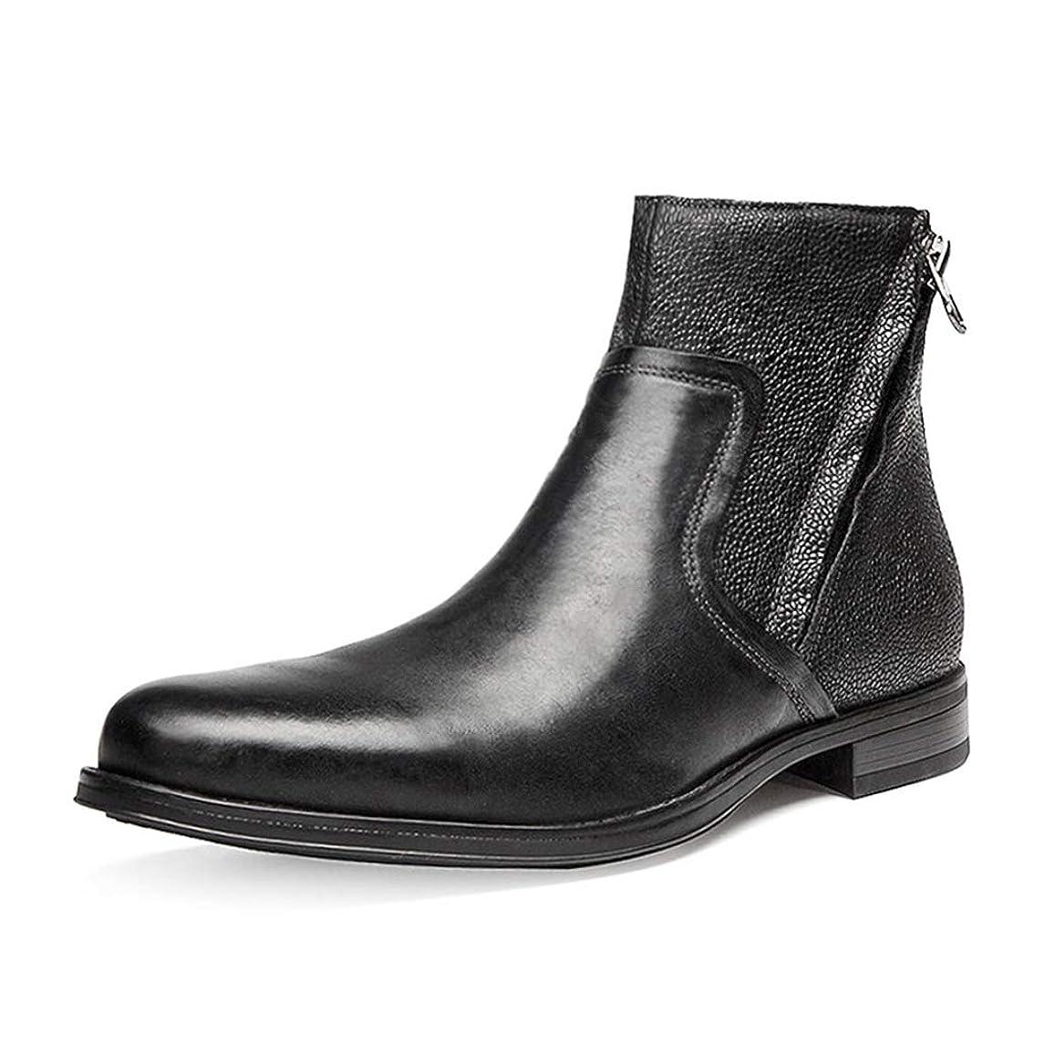 完全に乾くエネルギー闘争[Placck] ブーツ ビジネスブーツ メンズ 紳士靴 秋冬靴 レインシューズ アウトドア ショートブーツ 革靴 大きいサイズ 25cm-27.5 本革 防水
