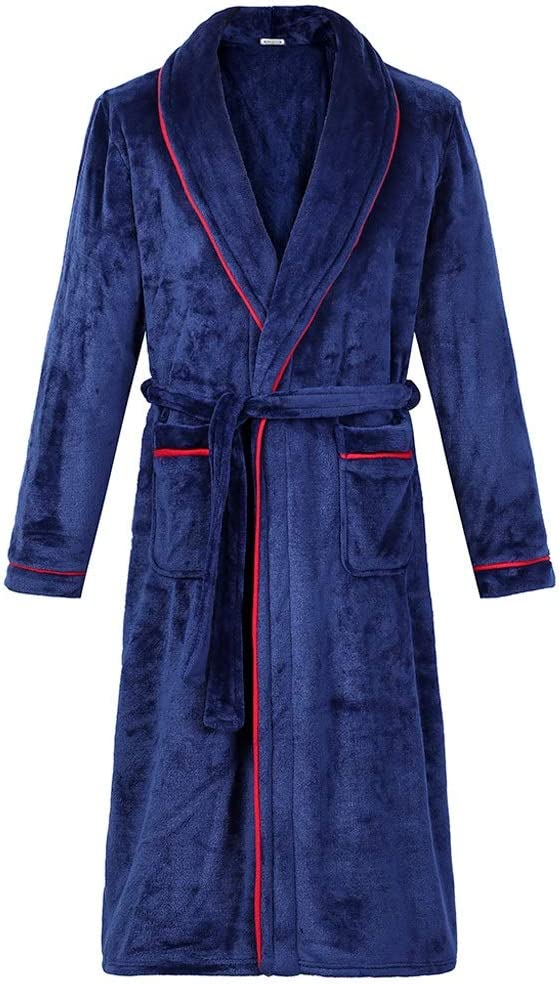 DJASM ZZWZM Flannel Bath Gown Winter Bathrobe Men Thick Men's Robe Terry Long Sleeve Solid Male Sleep Gown Women Nightgown Kimono Lounge (Color : C, Size : XX-Large)