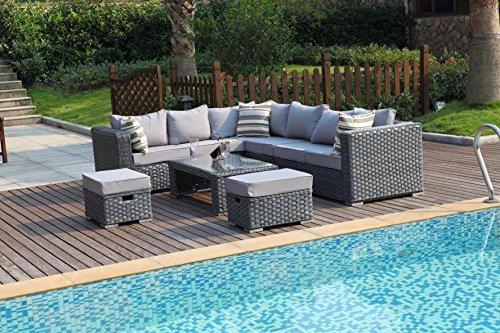 YAKOE 50020 Papaver Conservatory Modular 9 Seater Rattan Corner Garden Sofa Furniture Set - Grey Garden Furniture & Accessories Garden & Outdoors