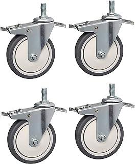 XINKONG 4 stks Meubels Swivel Casters 75/100mm Castor Wielen Met Rem M10 Swivel Castor Rubber Casters Voor Trolley Industr...