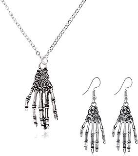 YANCHUN Skull Necklace Skull Stud Earrings for Women Stainless Steel Punk Biker Skull Ring for Men Halloween Jewelry Set