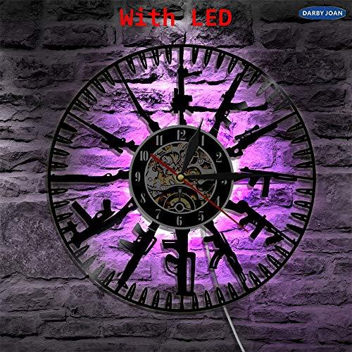 JXWH Bullet Time Orologio da Parete in Vinile Che Cambia Colore Lampada da Parete per Telecomando e Soldati dell'Esercito