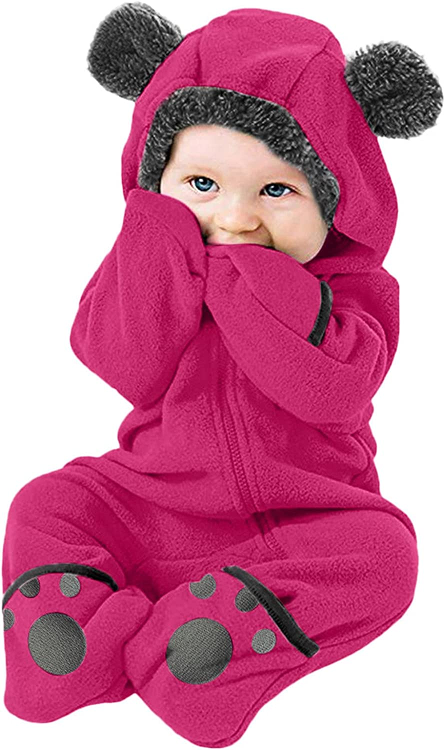 FORESTIME Product Kids Free shipping on posting reviews Fleece Coat Infant Cartoon Solid Baby Hoodie Ears