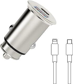 Ładowarka samochodowa USB C, super mini ładowarka samochodowa adapter szybkie ładowanie 38 W/6 A PD&QC 3.0 podwójny port w...