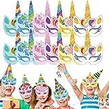 WENTS Máscaras de Unicornio 24 Piezas Máscaras para Niños Fiesta de Cumpleaños, Navidad, Halloween