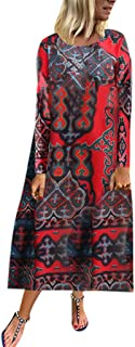 Kangma Women Loose Long Sleeve Round Neck Print Retro Long Maxi Party Dresses (Large(US 12) /Tag XL,Red)