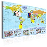murando - Mapamundi con Tablero para Clavar chinchetas 120x80 cm - Cuadro en Lienzo sintético - 1 Parte - Panel de Fibra - Mapa del Mundo Continente - k-A-0204-v-a